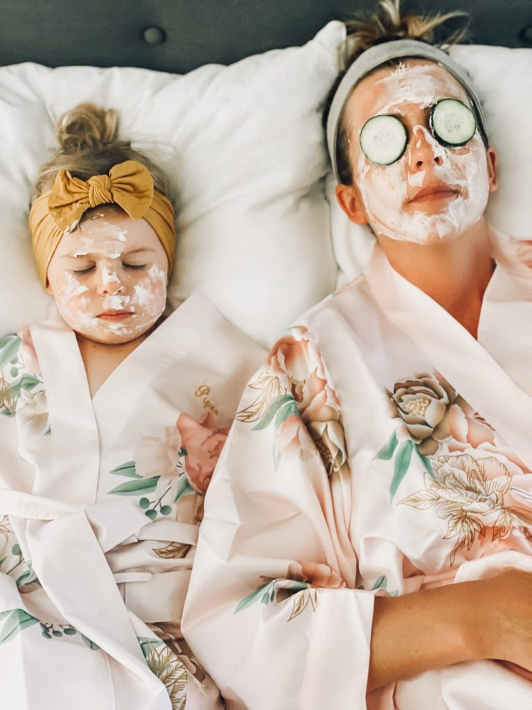 Piper & Mom relaxing with their DIY 3 Ingredient Face Masks!