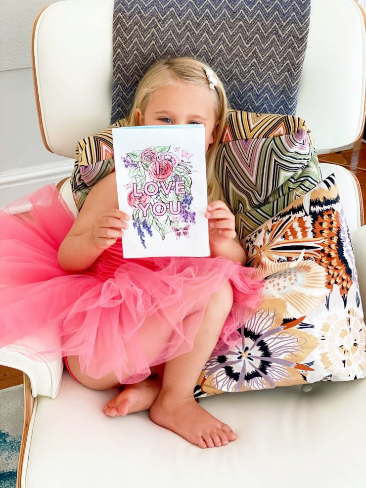 Ellie with her Mother's Day Printable Cards
