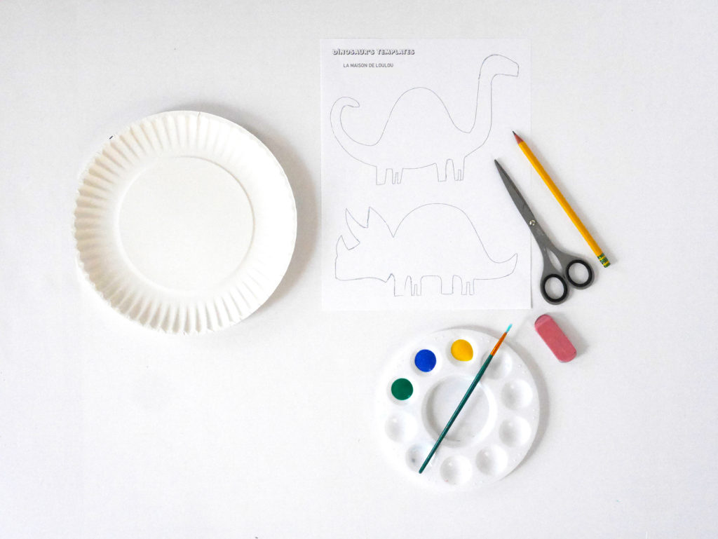 Materials for Colorful Dinosaur Painting Activity