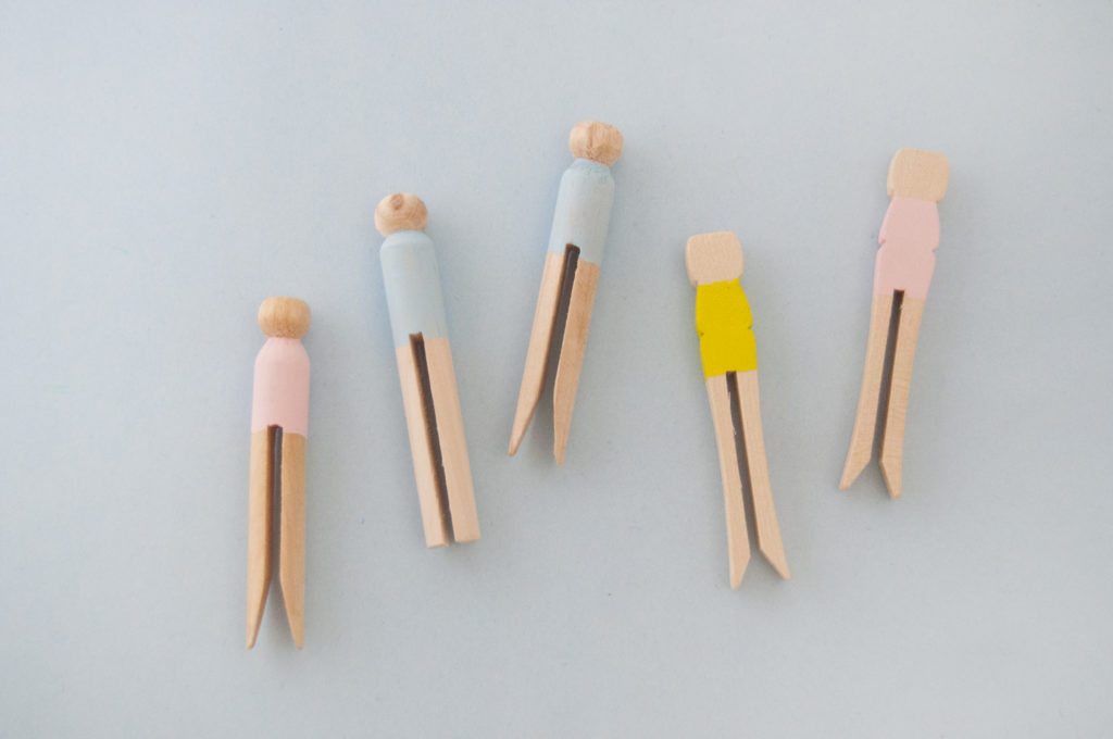 Simple Watercolor  Ballerina Peg Dolls Bodies