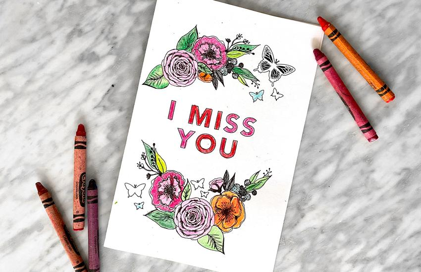 'I Miss You' Mother's Day Printable Cards