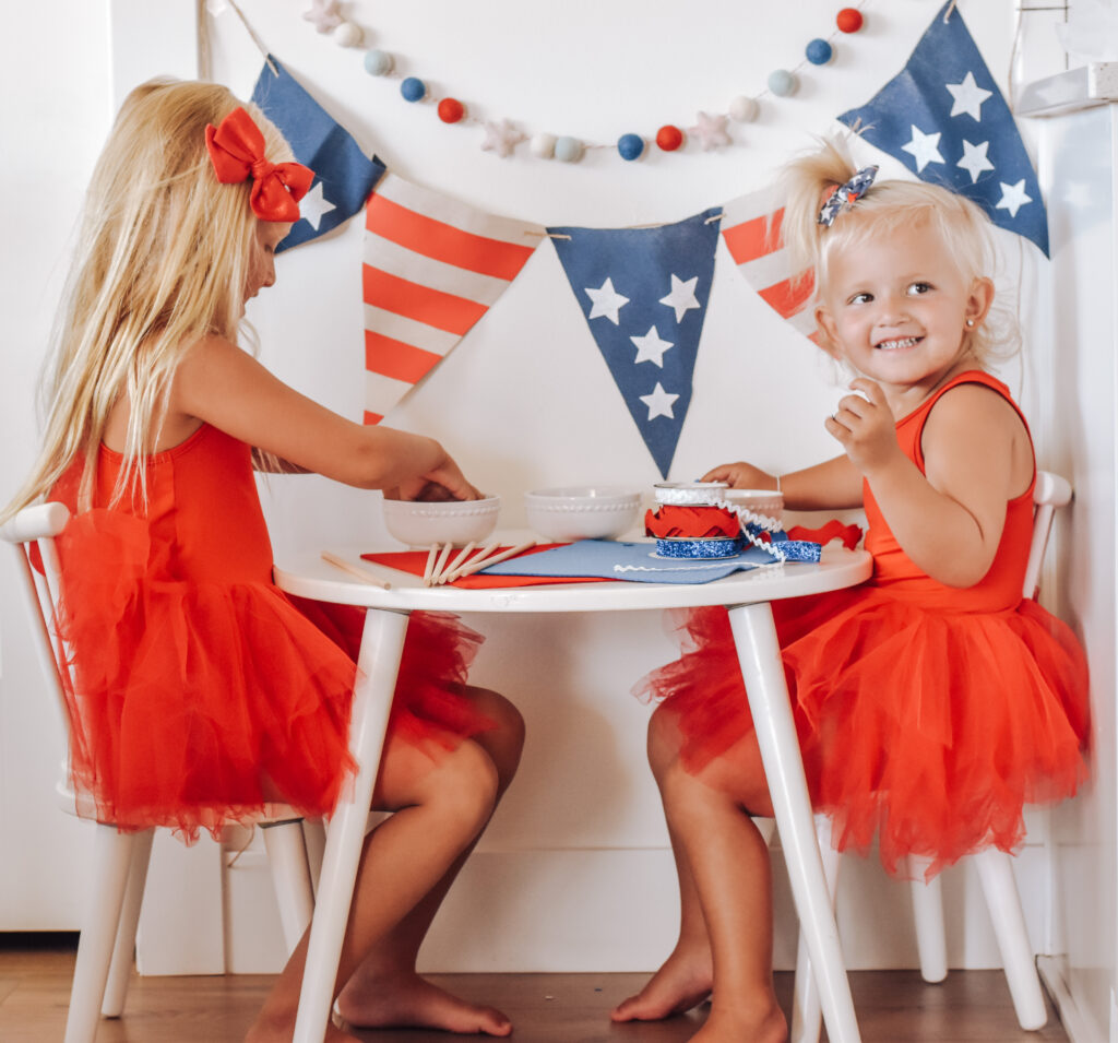 Girls Making Fourth of July DIY Sparkling Star Wands