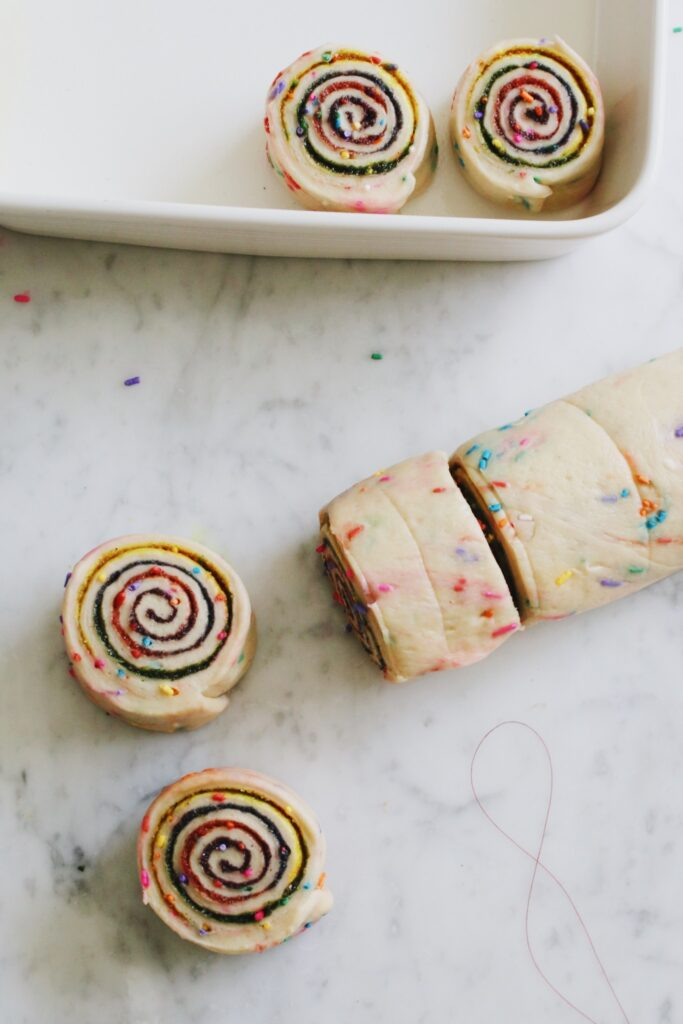 Homemade Rainbow Cinnamon Buns Rolled