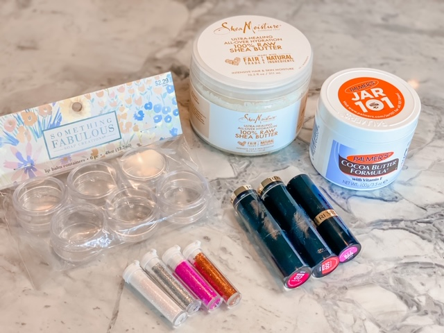 DIY Tinted Glitter Lip Balm Materials