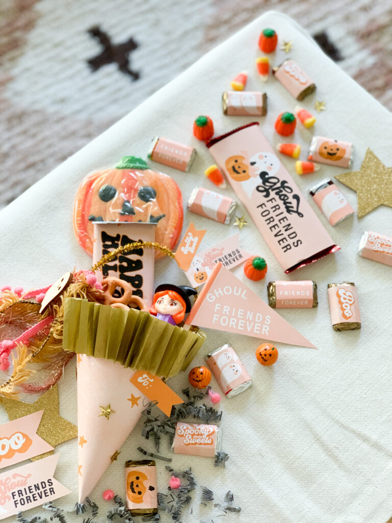 Ghoul Friends Printable Halloween Candy Wrappers + Candy Cone, Flags and Tags