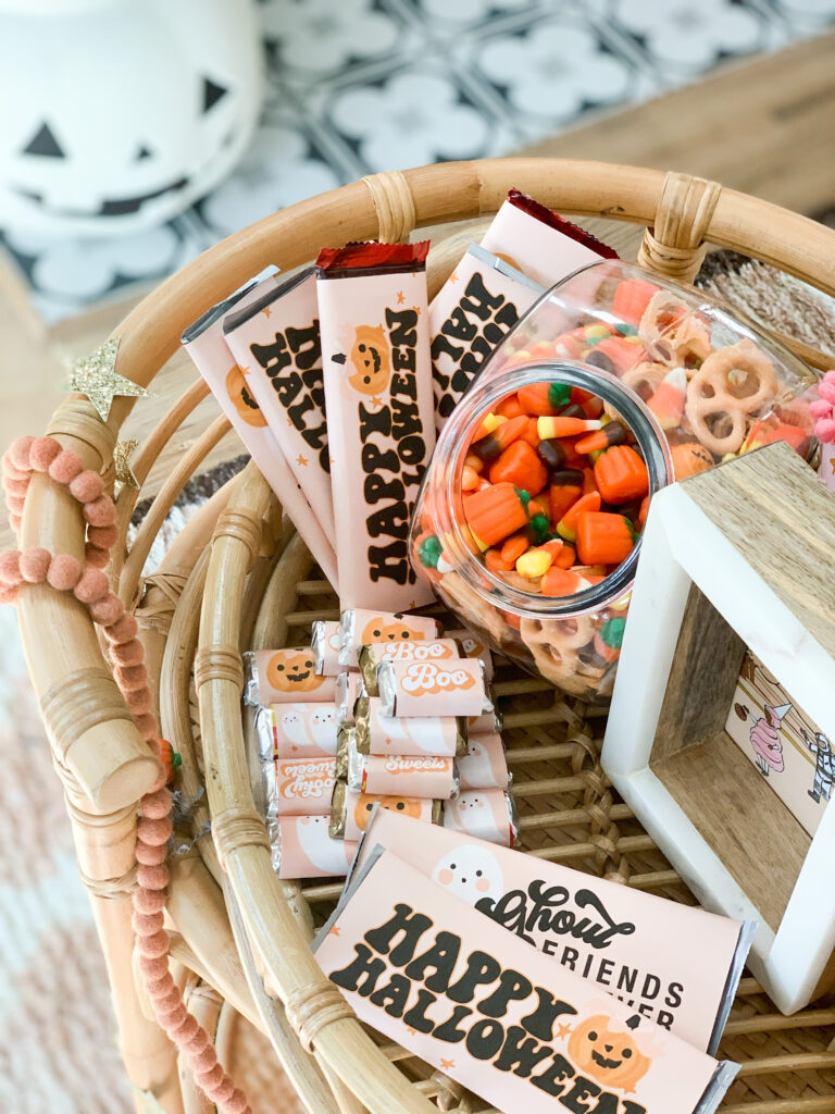 Ghoul Friends Printable Halloween Candy Wrappers Trick or Treat Basket