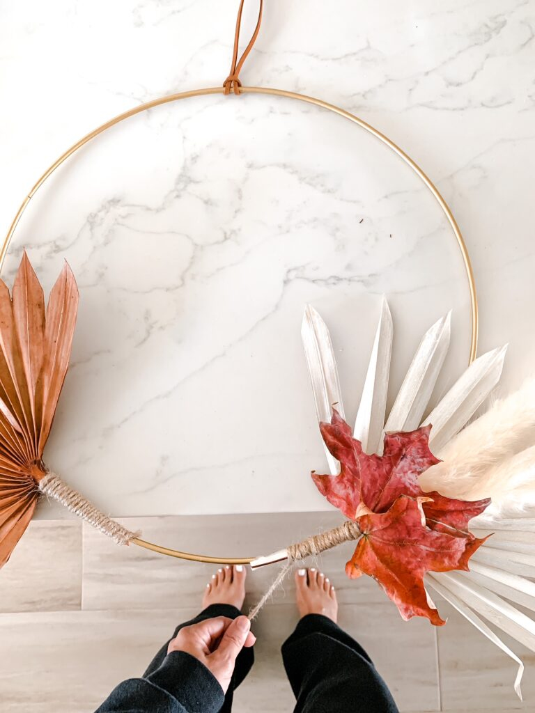 4 Step DIY Boho Fall Wreath Step 2