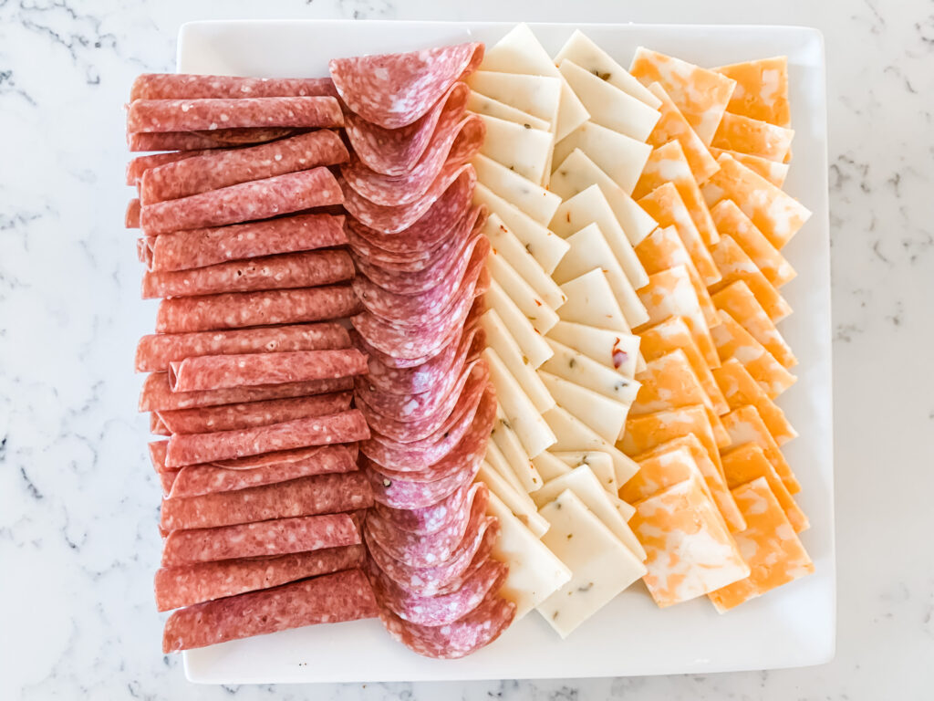 3 Step Turkey Charcuterie Board Salami and Cheese