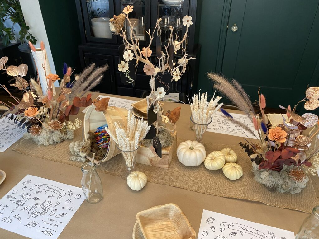 Whimsical Thanksgiving Kids Table Finished
