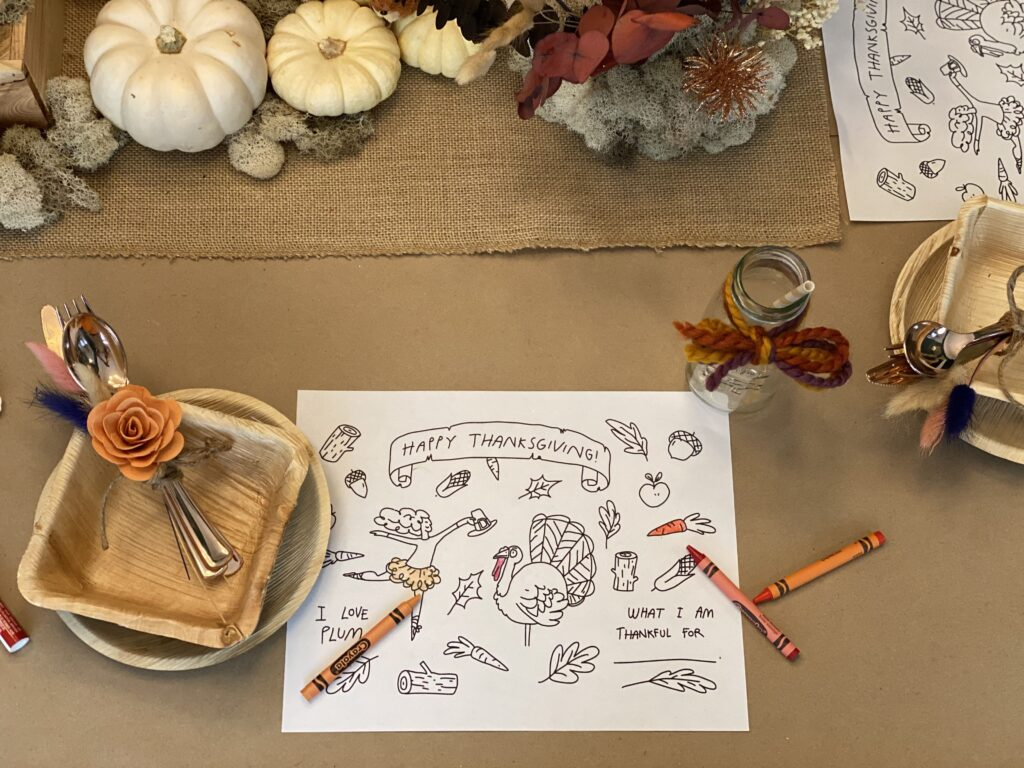 Whimsical Thanksgiving Kids Table COloring Placemat Printable