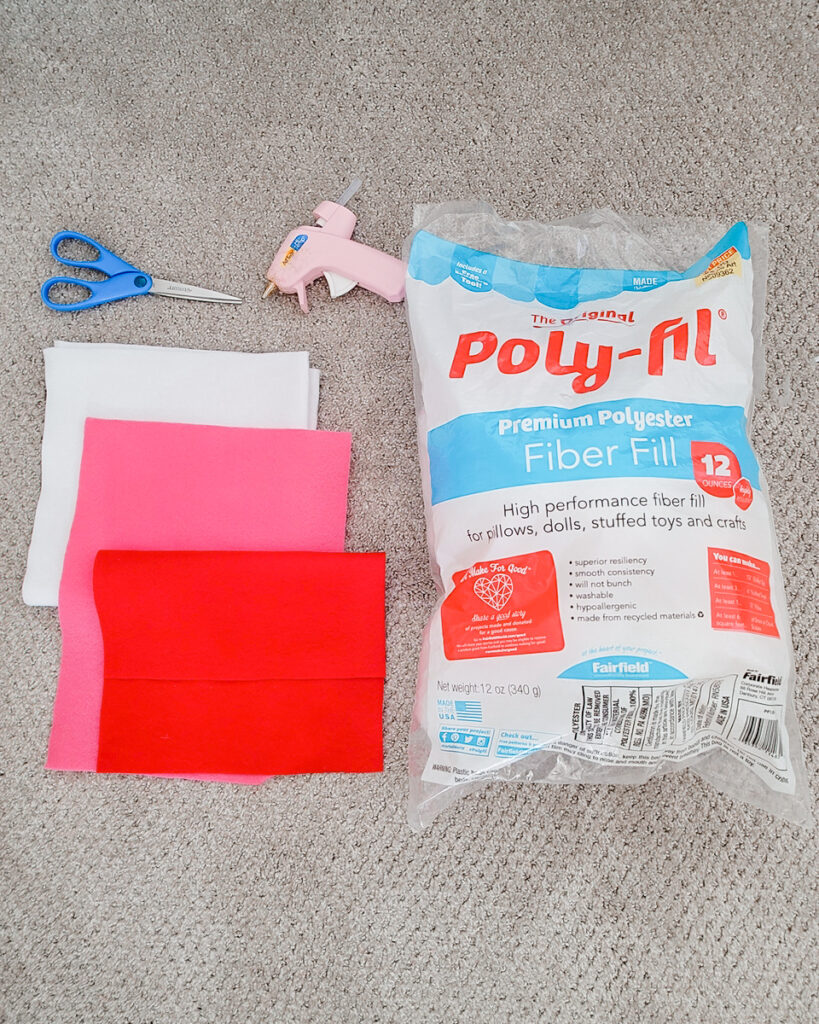 Simple, Cuddly DIY Candy Cane Plush Materials