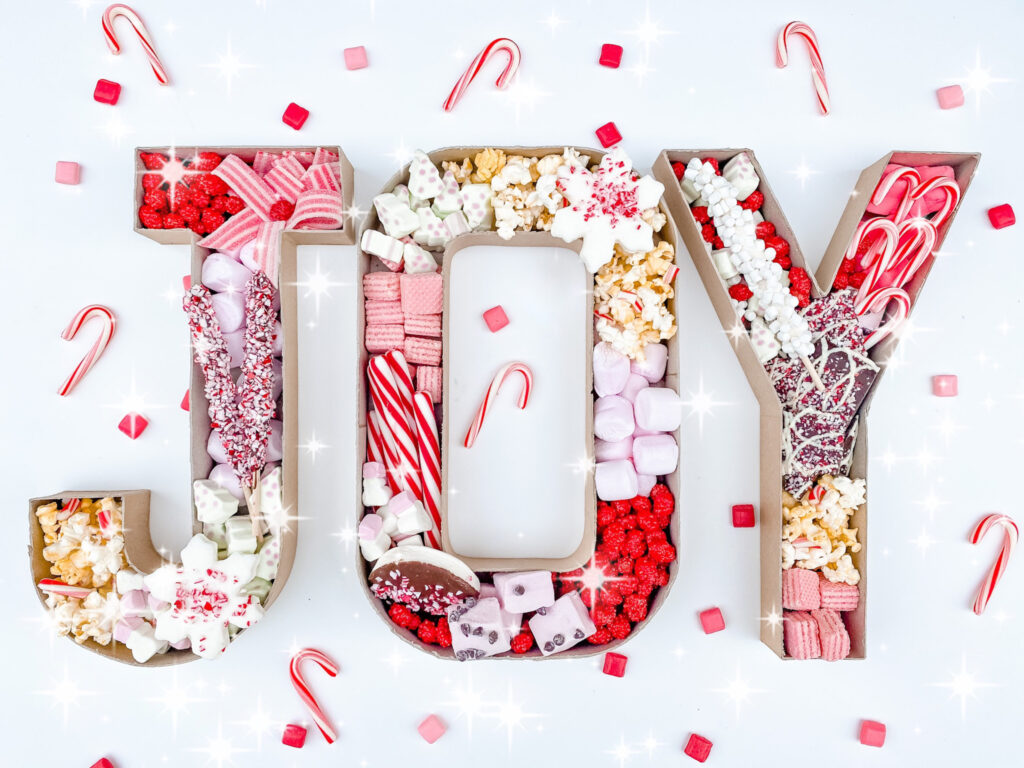 Easy 2-Step DIY JOY Candy Charcuterie Finished