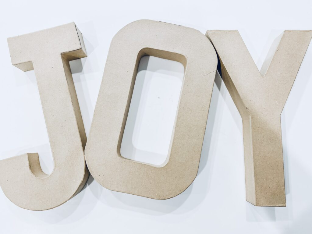 Easy 2-Step DIY JOY Candy Charcuterie Letters