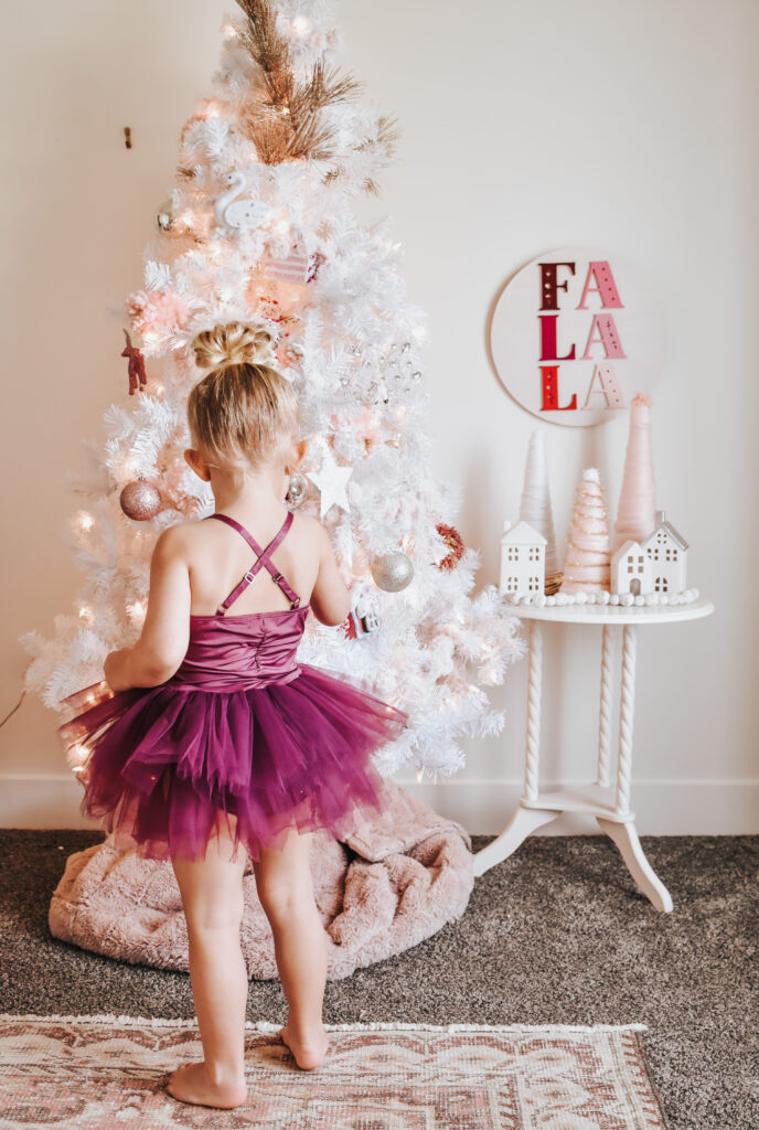 DIY Pink Christmas Tree Garland FInished