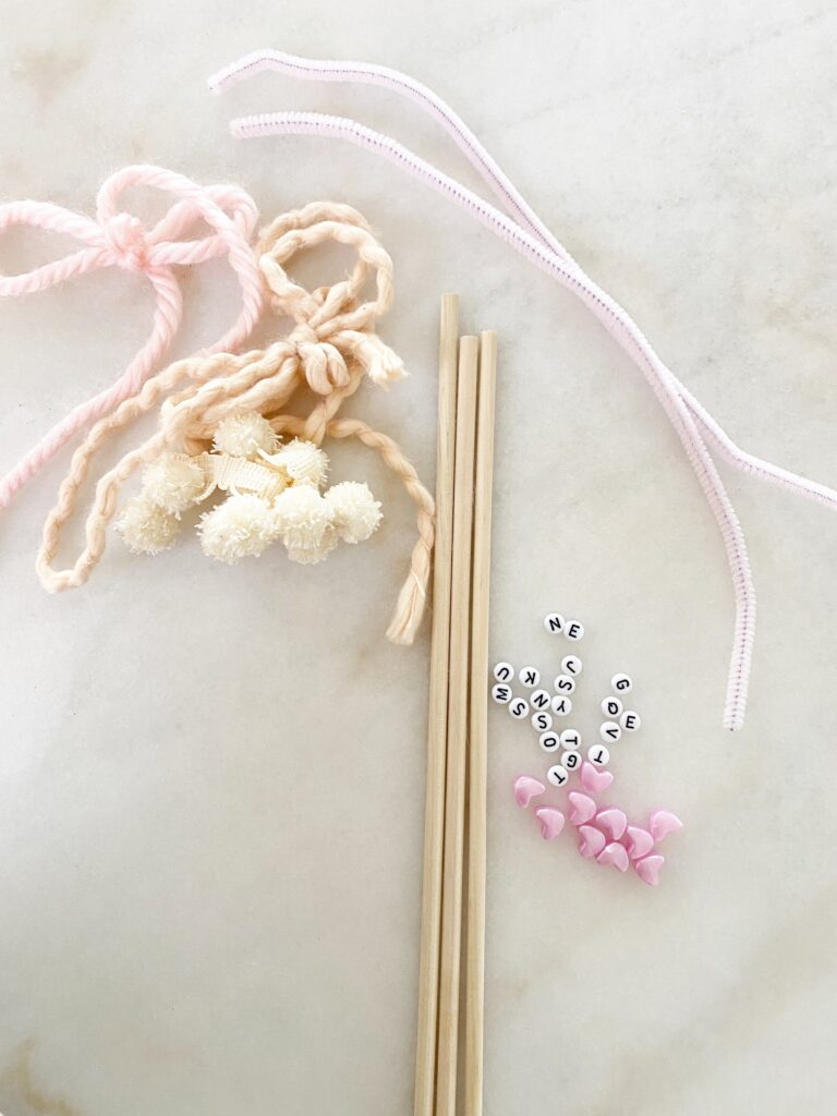 Valentine's Day Heart Wands Materials
