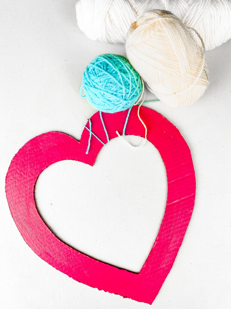 Colorful 4 Step Yarn Hearts DIY Step 3