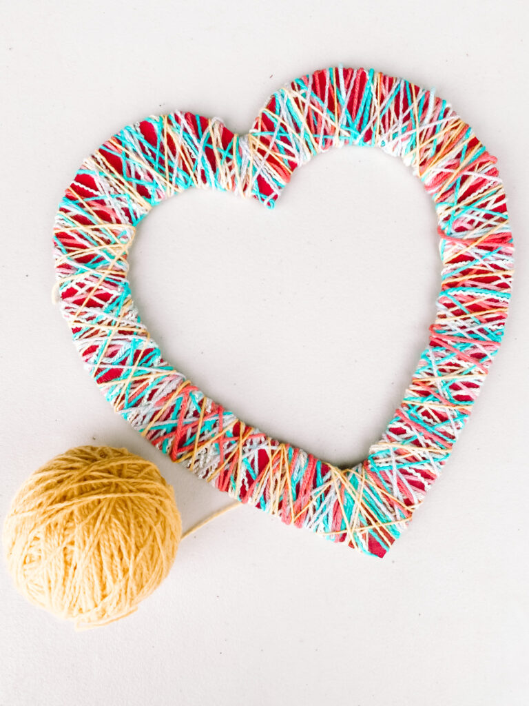 Colorful 4 Step Yarn Hearts DIY Step 4